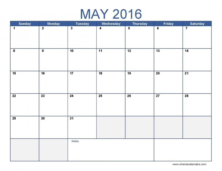 May 2016 Calendar Template Monthly Calendar 2016 Pdf Excel 89uj