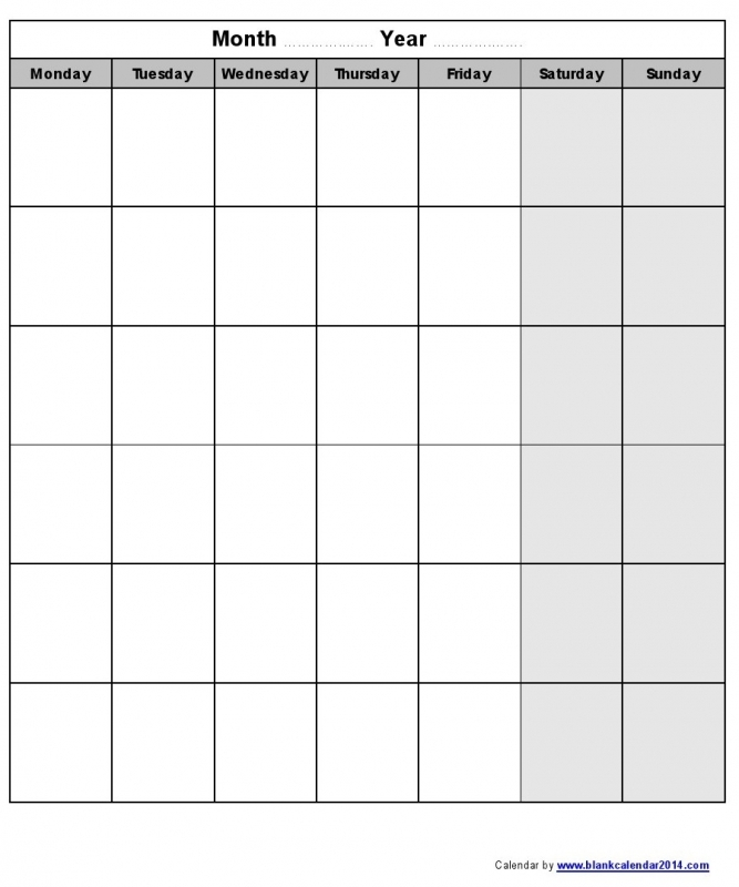 Printable Monday Through Sunday Calendars Free Calendar Template