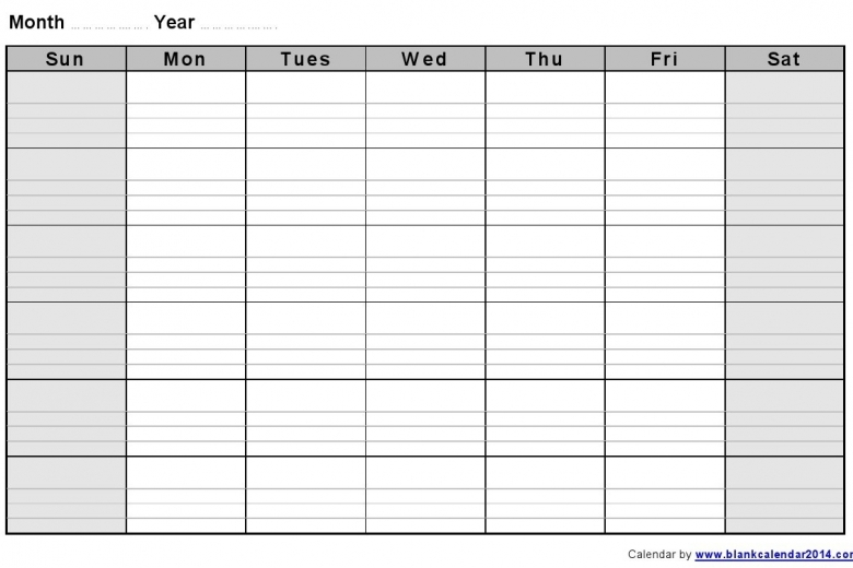 Blank Two Week Calendar Printable Free Calendar Template