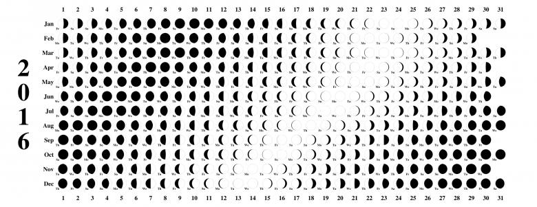 Moon Phases Calendar 2016 Printable Calendar Templates  xjb