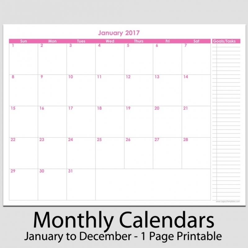 Printable Monthly Task Calendar New Calendar 20163abry
