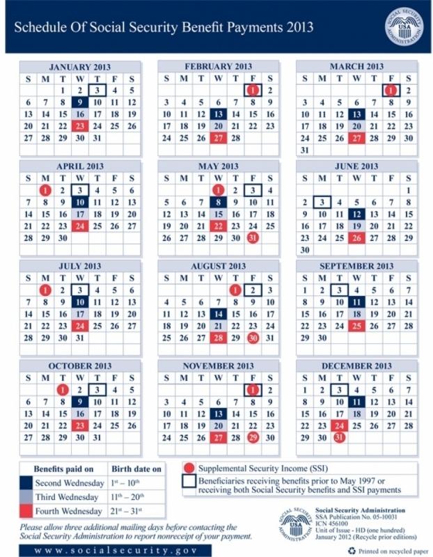 Social Security Payment Calendar 2016 Calendar Printable 20163abry
