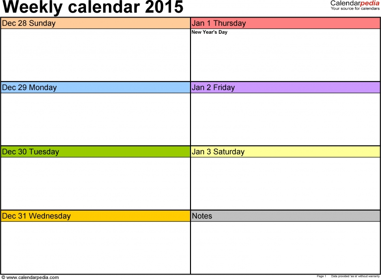 Weekly Calendar 2015 For Excel 12 Free Printable Templates  xjb