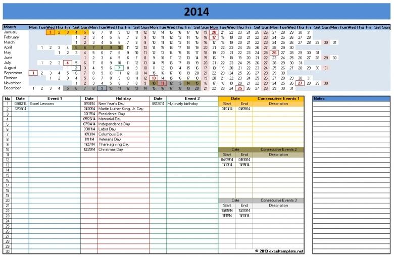 2014 Calendar Templates Microsoft And Open Office Templates  xjb