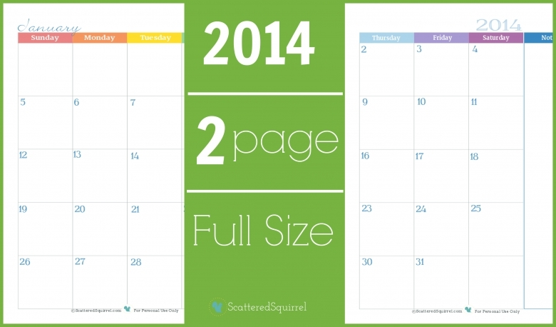 2014 Calendar Two Page Monthly Scattered Squirrel  xjb