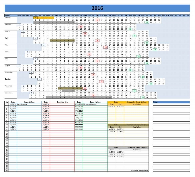 2016 Calendar Templates Microsoft And Open Office Templates  xjb
