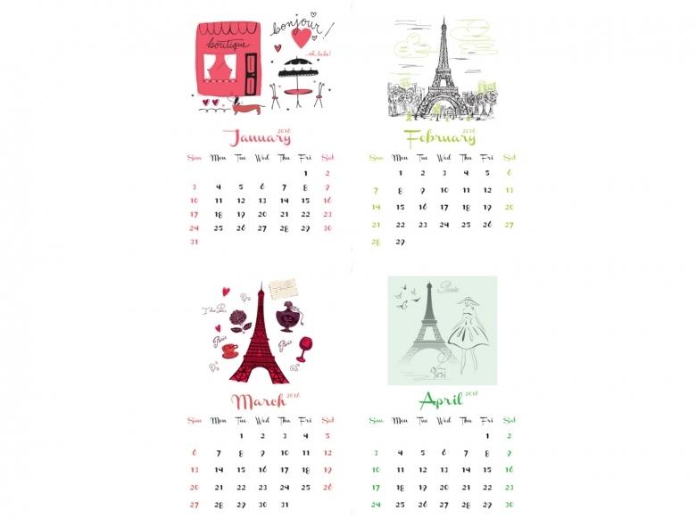2016 Fashion Printable Calendar Blank Calendar Design 20163abry