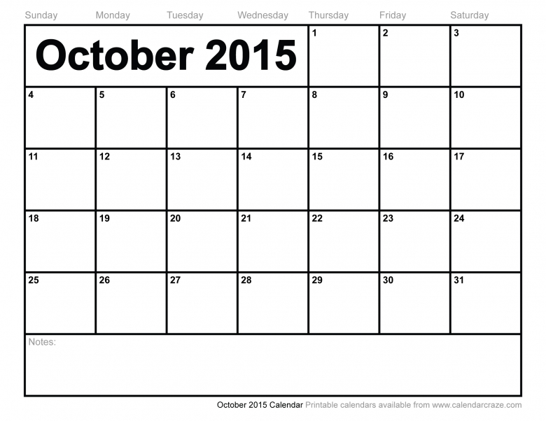 7 Best Images Of Printable Monthly Calendar Template October 20153abry