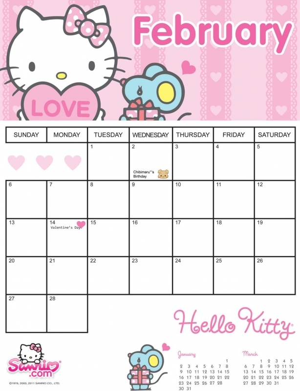 7 Best Images Of Sanrio Printable Calendar Blank 2015 Calendar  xjb