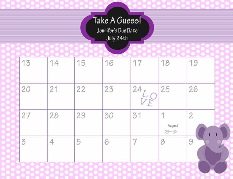 Best Photos Of Guess The Due Date Guess Ba Due Date Calendar  xjb