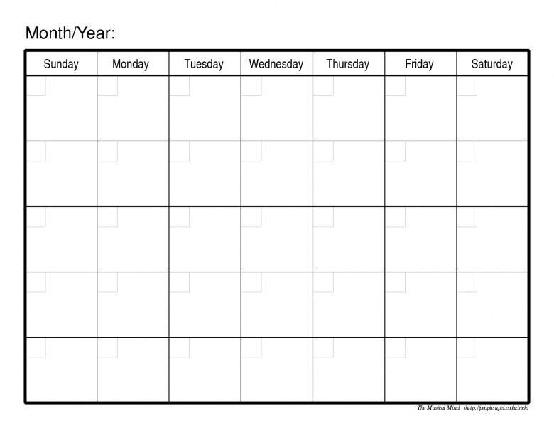 Blank Monthly Calendar Template3abry