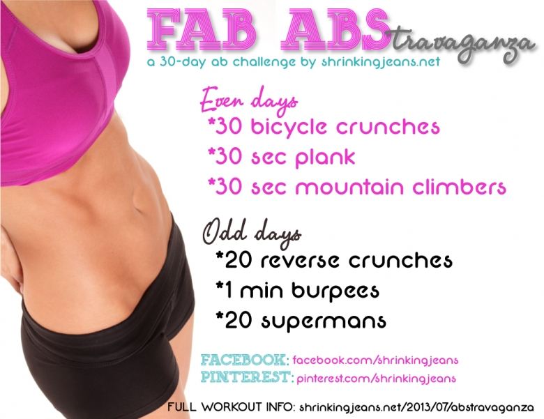 Fab Abstravaganza A 30 Day Ab Challange And Monthly Workout Calendar  xjb