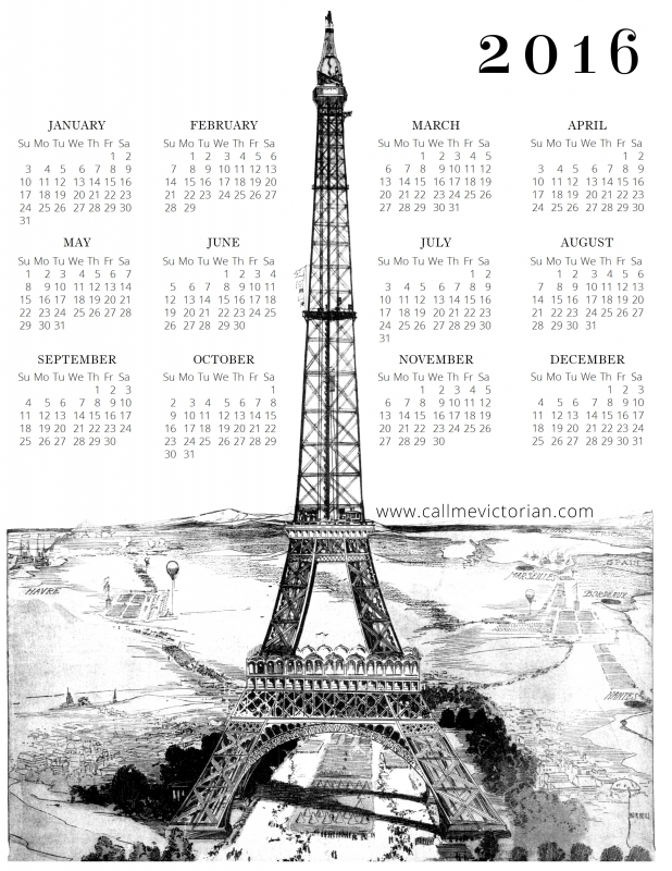 Free 2016 Printable Calendar Paris Edition Call Me Victorian3abry