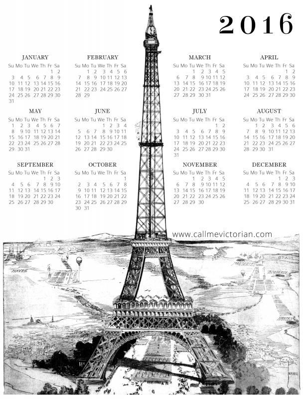 Free 2016 Printable Calendar Paris Edition Call Me Victorian3abry