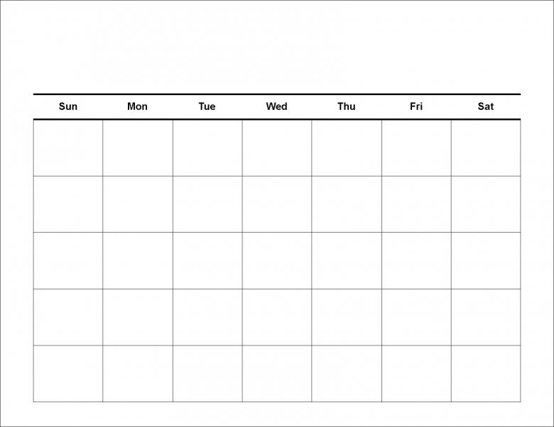 Free Blank Calendar Template3abry