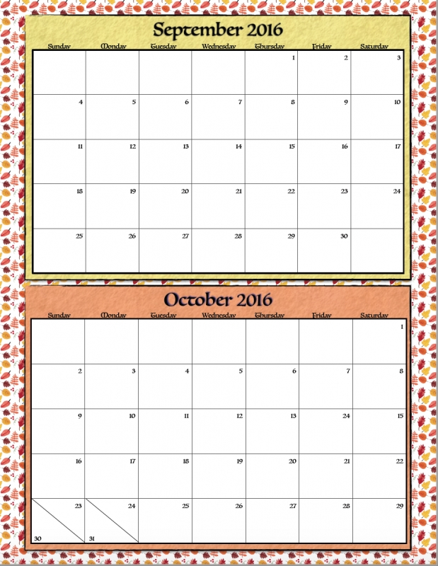 Free Printable Bimonthly 2016 Calendars 2 Designs The Housewife  xjb