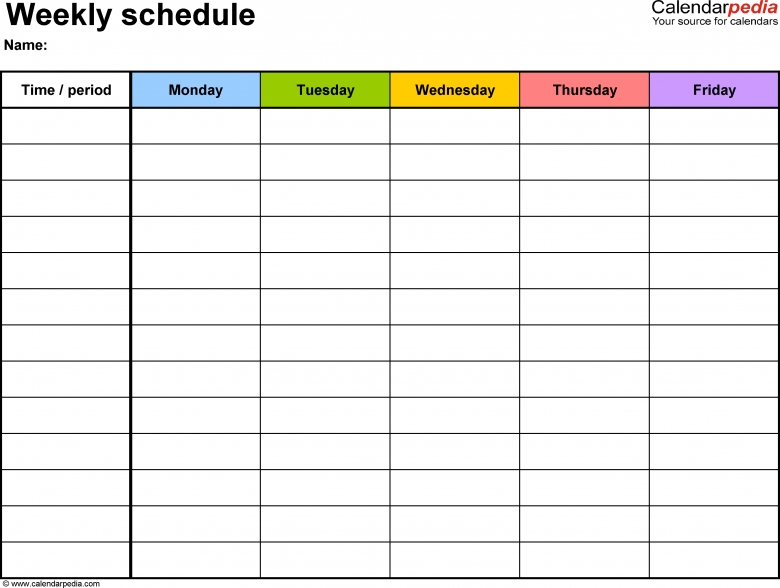 Blank Calendar Without Dates : Monday thru friday calendar with no dates free