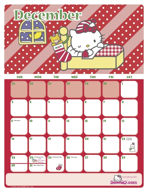 I Love Kawaii Hello Kitty 2012 December Calendar  Xjb
