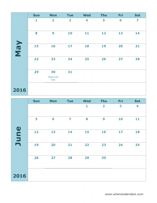 May And June 2016 Calendar Printable Template  xjb