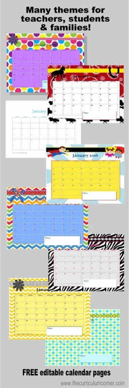 Planning Binder Calendar Pages The Curriculum Corner 123  xjb