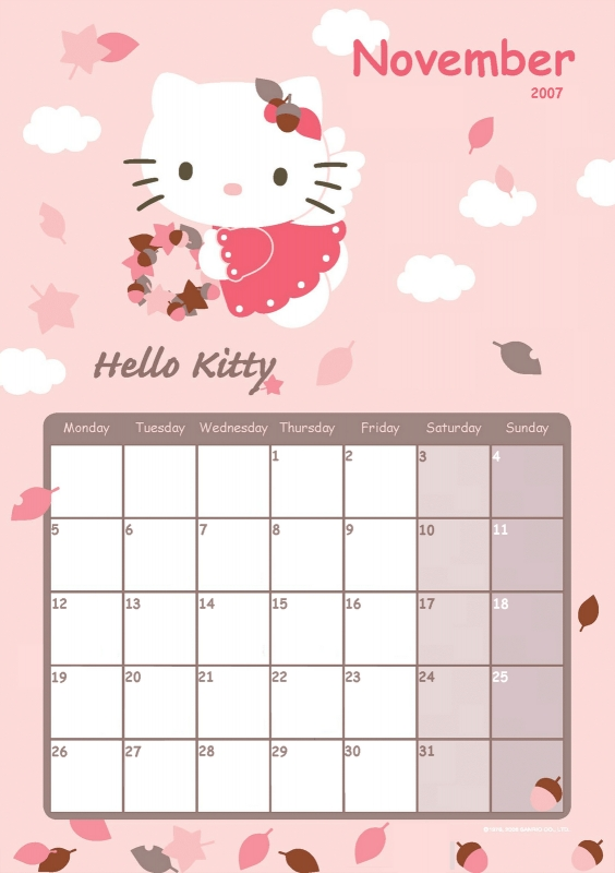 Hello Kitty Monthly Calendar : Hello kitty calendar template free
