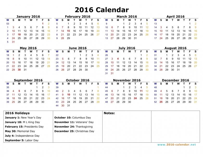 Printable 2016 Calendar  xjb