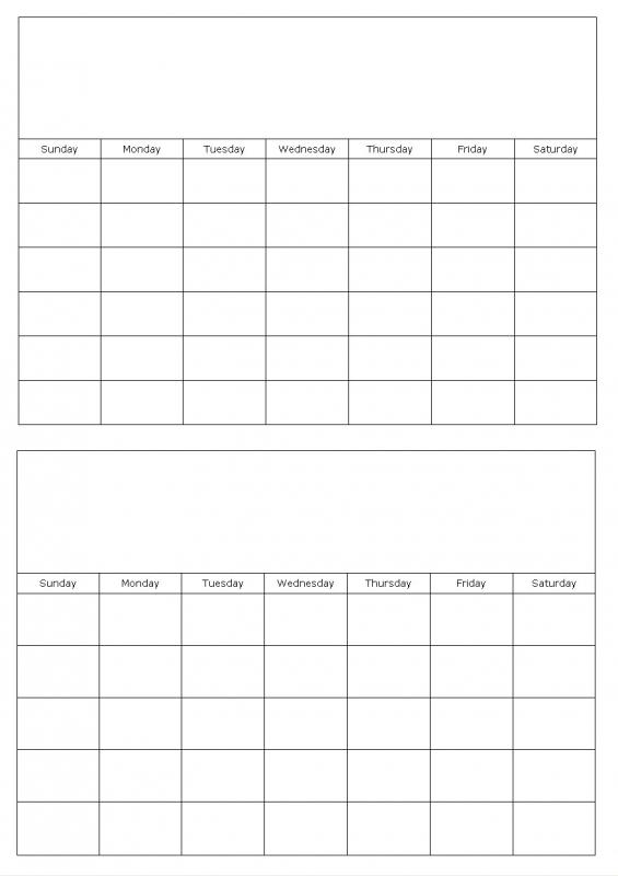Two Month Calendar