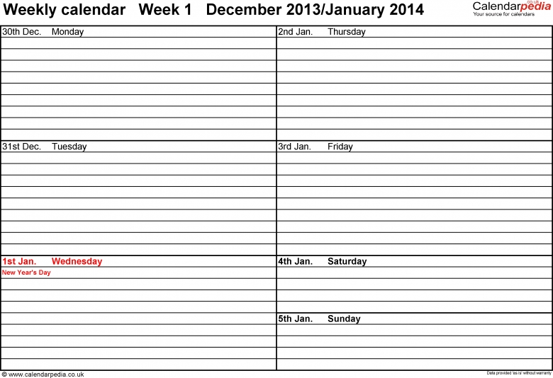 Weekly Calendar 2014 Uk Free Printable Templates For Excel  xjb