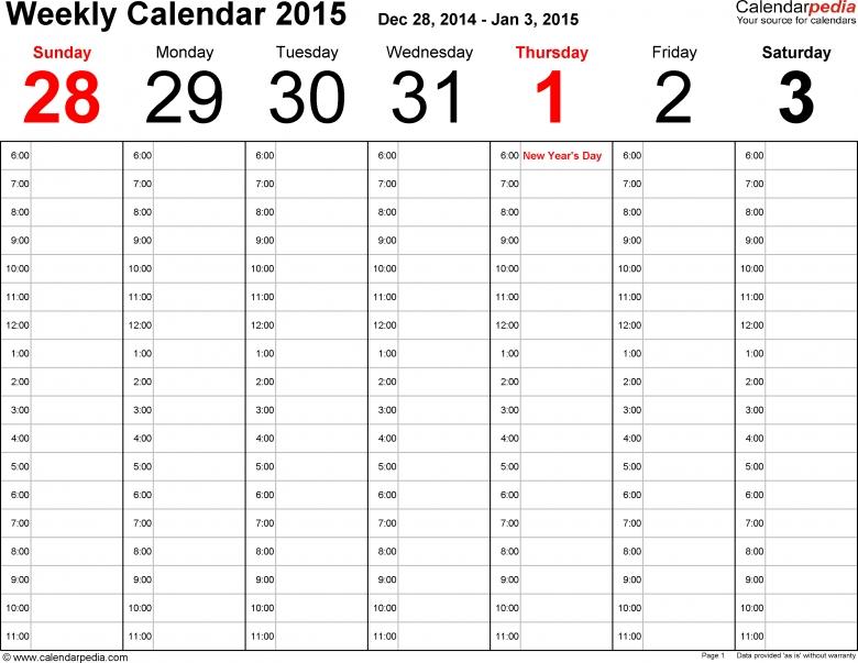 Weekly Calendar 2015 For Pdf 12 Free Printable Templates  xjb
