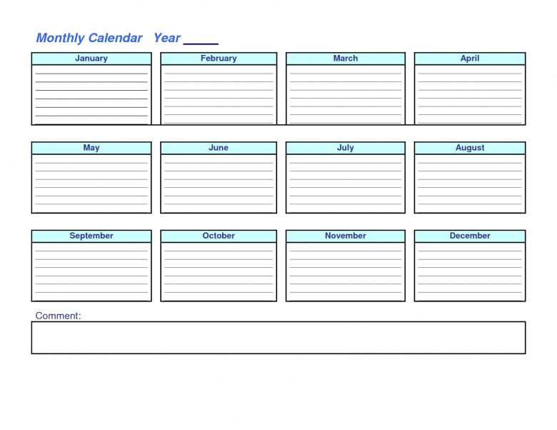 Year Calendar At A Glance : Year at a glance blank calendar template free