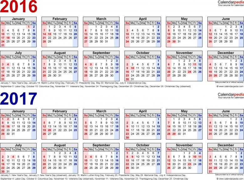 2016 2017 Calendar Free Printable Two Year Pdf Calendars  xjb