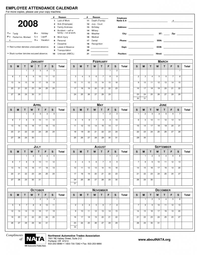 2016 Attendance Calendar Free Calendar Template Calendar Design3abry