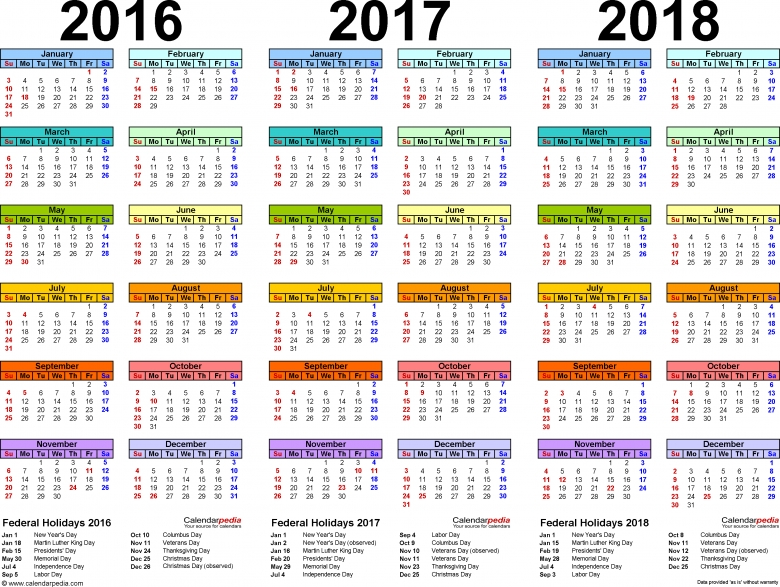 201620172018 Calendar 4 Three Year Printable Pdf Calendars 89uj
