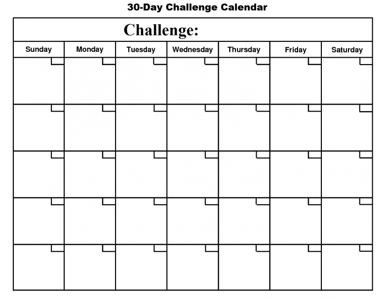 30 Day Challenge January Free Monthly Calendar Template  xjb
