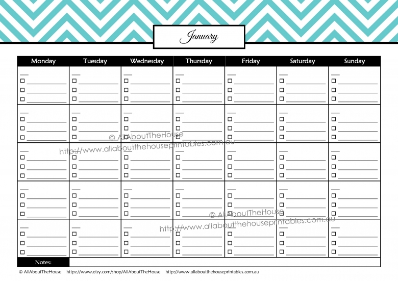 Bill Calendar Printable Free Calendar Template