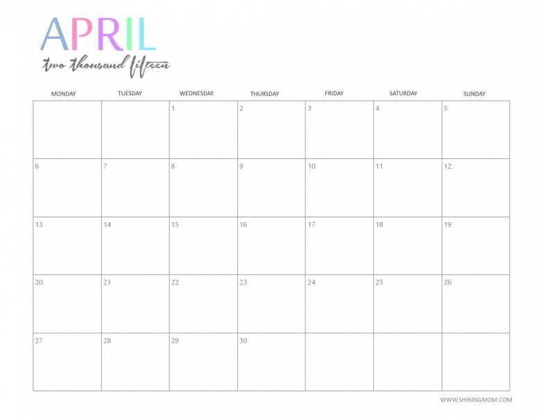 8 Best Images Of Cute Free Printable Calendar Templates April 2015  xjb