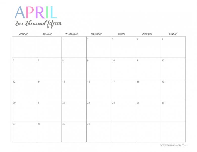 Cute April Calendar