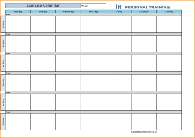 Workout calendar template free calendar template for Triathlon training calendar template