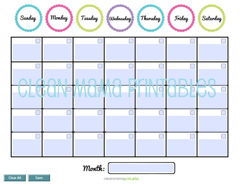 Free Ediable Calendar