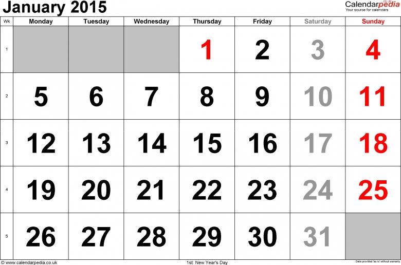 Best Photos Of Giant Calendar Template January 2015 January 2015  xjb