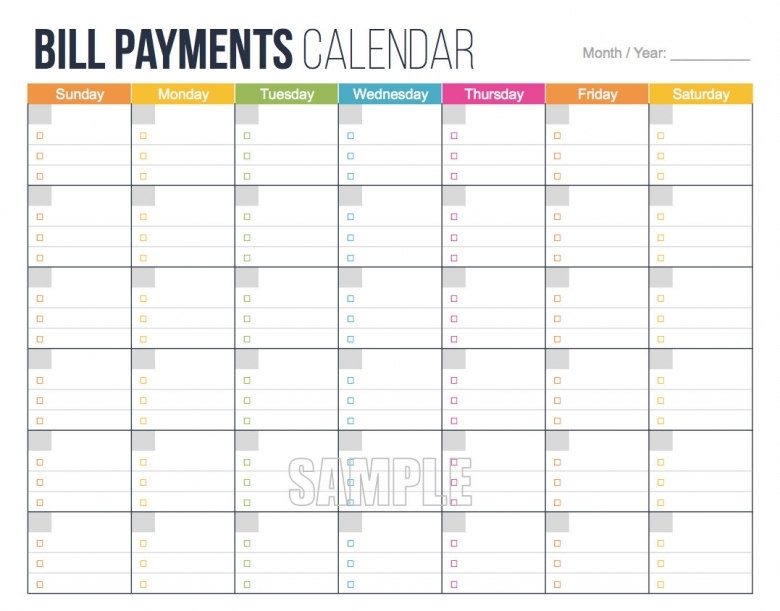 Bill Calendar Printable :-Free Calendar Template