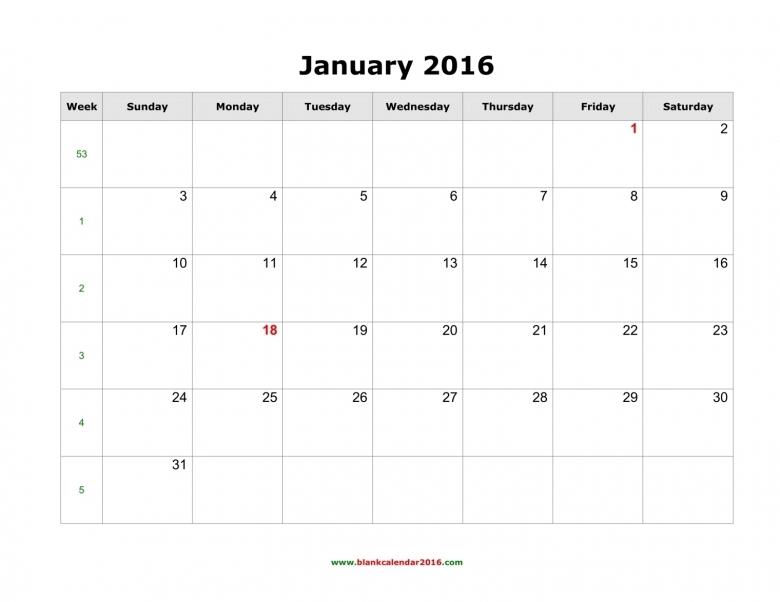 Blank Calendar 20163abry