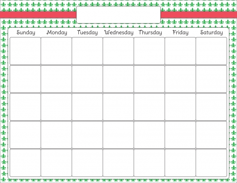 Art Calendar Template : Pretty blank calendar templates free template