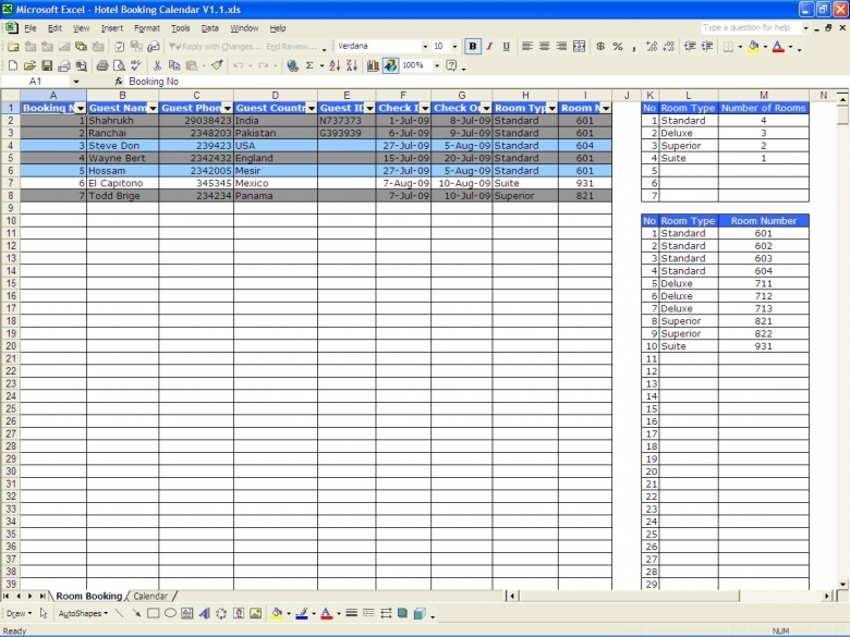 Booking Calendar Excel Templates 89uj
