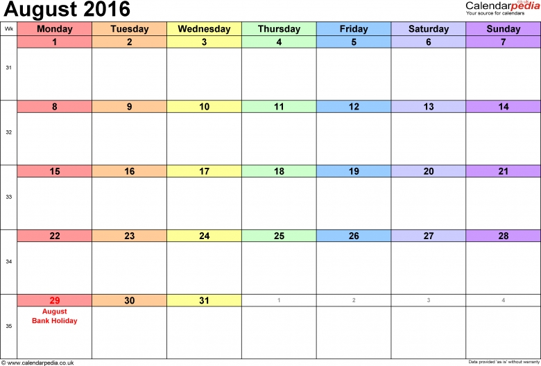 Calendar August 2016 Uk Bank Holidays Excelpdfword Templates  Xjb