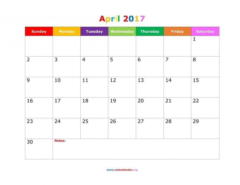 Cute April 2017 Calendar  xjb