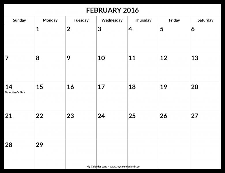 February 2016 Calendar My Calendar Land  xjb
