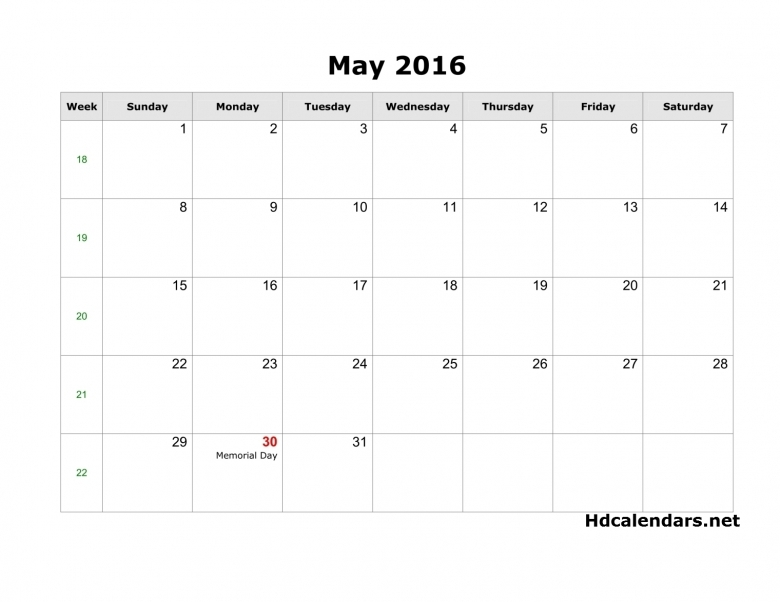 May 2016 Calendar With Moon3abry