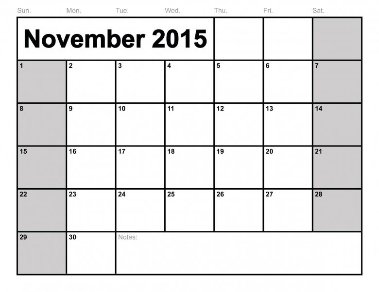 Pdf November 2016 Monthly Calendar Printable  xjb