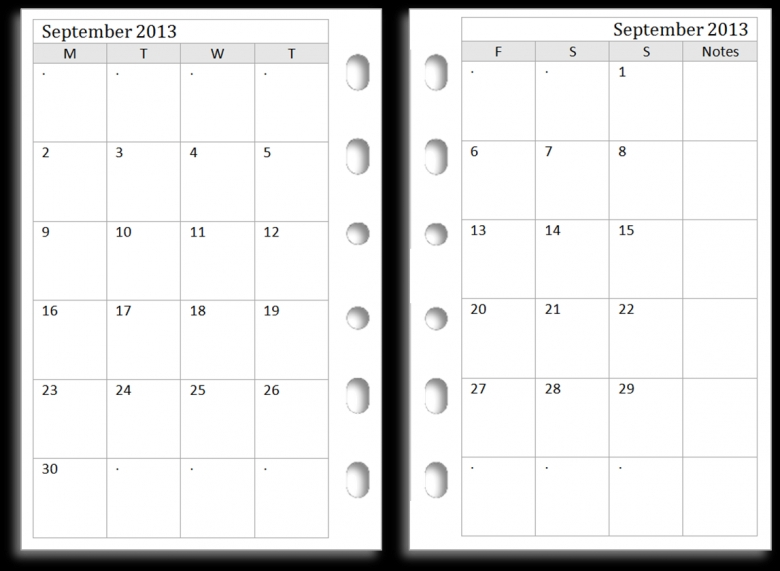 Monthly Two Page Calendar Template Free Calendar Template